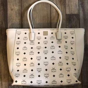 MCM Monogram Shopper Tote White NWOT